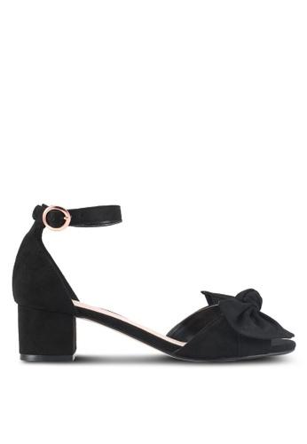 Velvet 黑色 繞踝蝴蝶結粗跟涼鞋 40A39SH29F7DC4GS_1