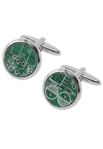 CUFF IT green Unique Green Circuit Board Cufflinks CU047AC06WEBHK_1