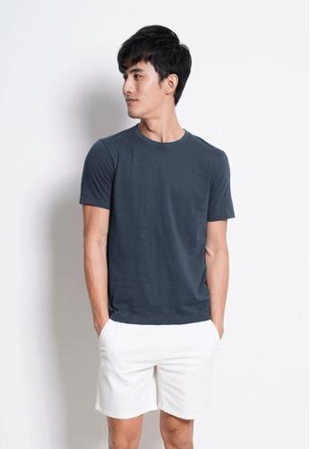 Hi Style blue Plain Short Sleeve Tee 3F96FAA52E0063GS_1