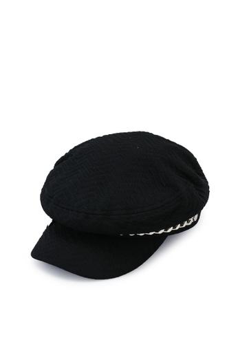 URBAN REVIVO black Baker Boy Chain Hat 13F1DAC9458905GS_1