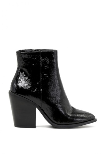 Rag & CO. black Crinkle Patent Ankle Boots with Block Heel 4963BSH315779CGS_1