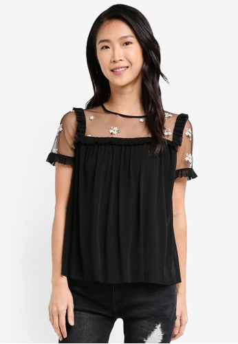 ZALORA black Sheer Top With Ruffle E8D4FAA0FB5F86GS_1