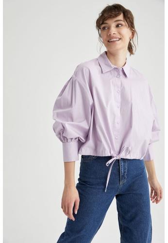 DeFacto purple Woman Woven Long Sleeve Shirt 1D110AA582505EGS_1