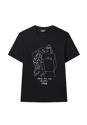 FILA navy Theme Printed Cotton T-shirt 4993CAA0595D08GS_1