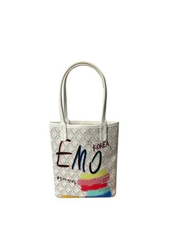 EMO white Korean fashion Brand‧Canine Graffiti Pattern Totebag (Medium)- White 2C7CAAC290DA50GS_1