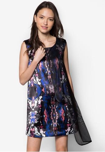 網眼拼接印花連身esprit台灣裙, 服飾, 洋裝