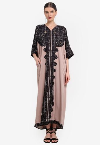 Rizalman for Zalora black and beige Jaimal Abaya RI909AA0SEZEMY_1