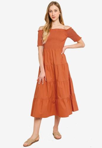 Compania Fantastica brown Brown Smocked Midi Dress 01D17AA97485DDGS_1