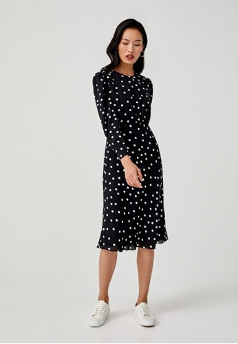 Love, Bonito black Blaise Midi Polka Dot Dress 0B427AAECEF10EGS_1