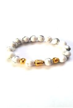 Feng Shui White Howlite Gold Plated Medicine Buddha Bracelet