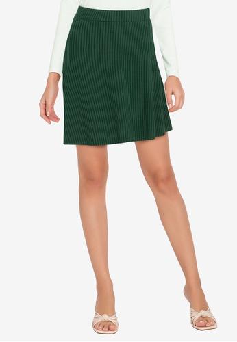 ZALORA WORK green Pleated Rib Mini Skirt 7DF92AAD870A5AGS_1