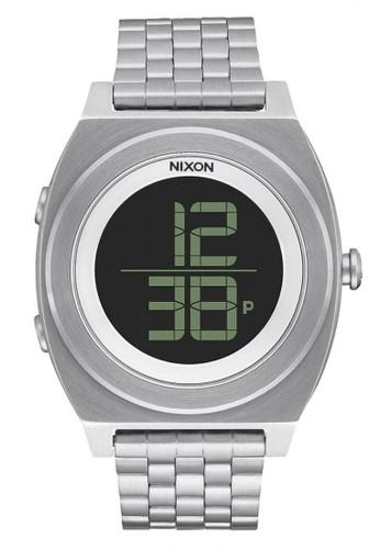NIXON Time Teller Digi SS Black Jam Tangan Pria A948000 - Stainless Steel - Silver