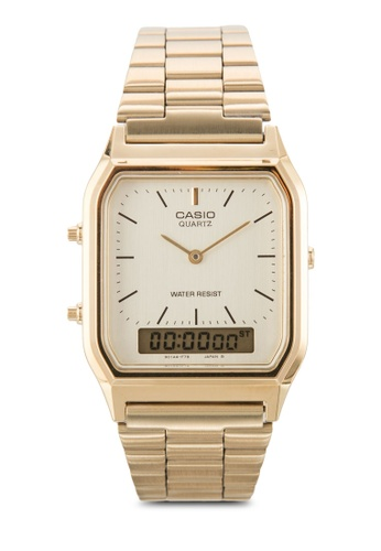 40eb84519 Casio gold New Casio AQ-230GA-9DHDF Digital Analog Dual Time Metal Watch  Multi