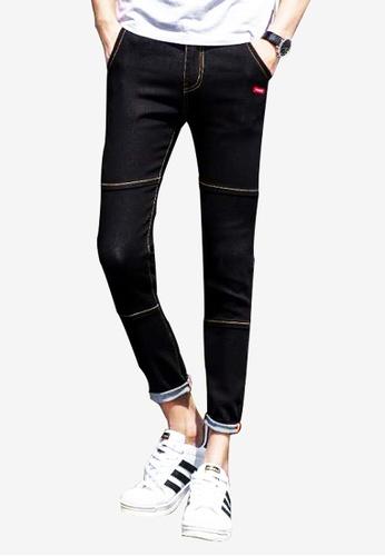hk-ehunter black Slim Fit Denim Jeans for Men CD2B2AA5FB5B14GS_1