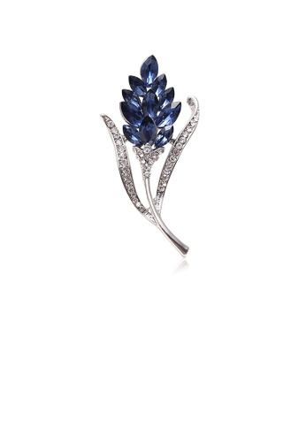 Glamorousky blue Fashion Simple Flower Brooch with Blue Cubic Zirconia 99DF8ACEA43D63GS_1
