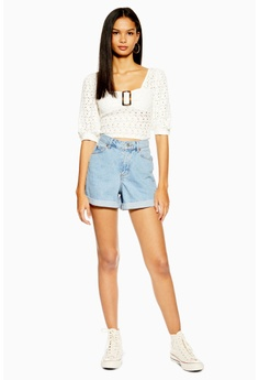 26d242810a1 TOPSHOP Roll Mom Denim Shorts RM 199.00. Sizes 6 8 10 12 14