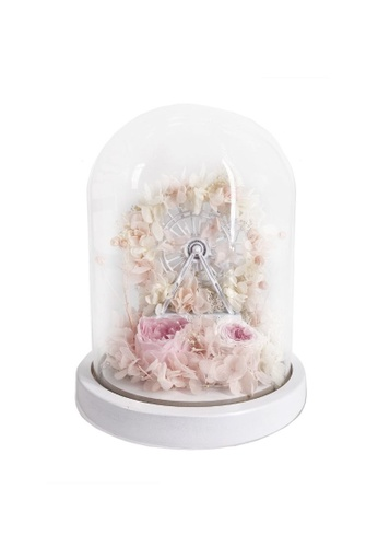 Klosh Preserved Flower Dome Ferris Wheel w Light - Pink 87FB2HL22039A0GS_1