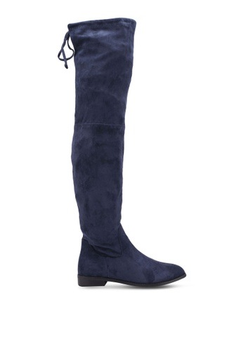 Something Borrowed navy Over The Knee Suede Boots 06A70SH83CEFF7GS_1