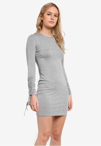 Miss Selfridge grey Petite Ruched Sleeve Bodycon Dress MI665AA0RI28MY_1