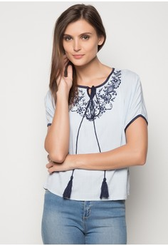 Round Neck Embroidered Top With Tassle