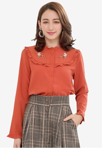 YOCO orange Frill Front Embroidery Blouse E6A3DAA9C89D08GS_1