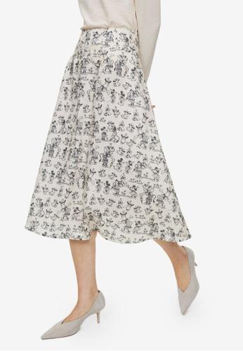 H&M white Midi Skirt 59C45AADB211C0GS_1
