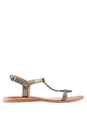 Les Tropeziennes Par M. Belarbi gold Hamat Gold Black Cross Ankle Leather Sandals 9B124SHBE8CCD9GS_1