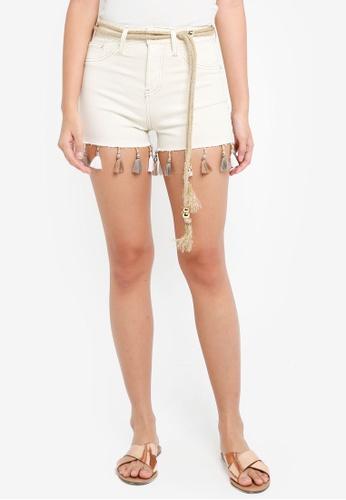 River Island beige Cream High Rise Tassel Trim Denim Hot Shorts 951A4AAE97850DGS_1