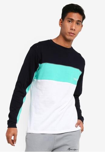 Mennace navy Panelled T-Shirt 315BFAAC1E9A3AGS_1