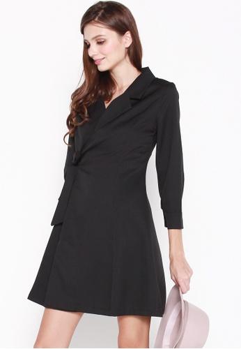 JOVET black Wrap Coat Dress 608EBAAB930D3FGS_1