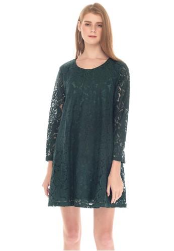 MOOIMOM green MOOIMOM Full Lace Long Sleeves Nursing Dress Baju Hamil Menyusui - Green 0725EAA7F1167DGS_1