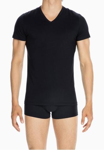 HOM navy Comfort Tee-Shirt V Neck AE8E1USFB48DDCGS_1