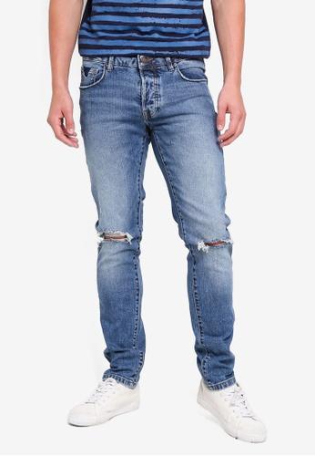 OVS 藍色 Straight Fit Worn Stretch 牛仔褲 FE707AA02046F5GS_1