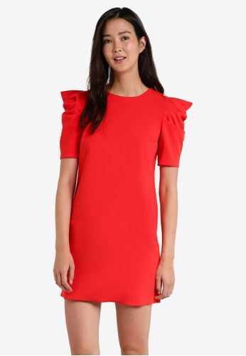 Miss Selfridge red Red Puff Sleeve Dress MI665AA17JYCMY_1