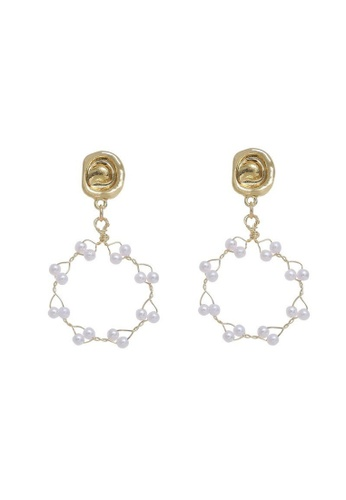 Atrireal beige and gold ATRIREAL - Winona Drop Earrings 8128BAC76F4914GS_1
