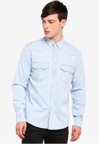 Topman 藍色 休閒丹寧襯衫 C38A4AA32E122FGS_1