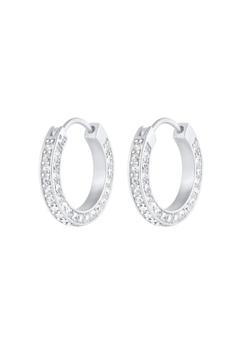 ELLI GERMANY white Earrings Creoles Crystals 9B51EACCECCBD5GS_1