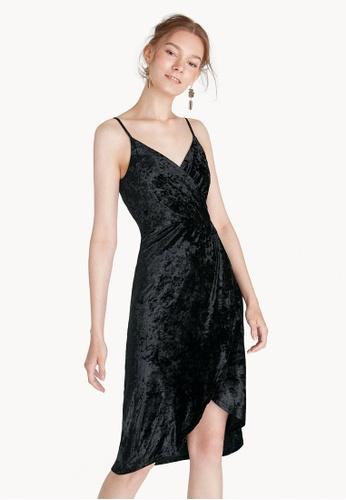 Pomelo black Midi Velvet Ruched Waist Wrap Dress 48BDDAA5E5C0EDGS_1