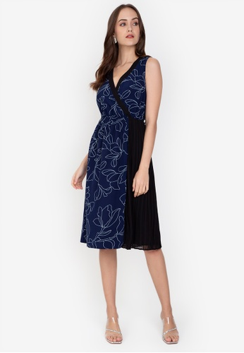 ZALORA WORK multi Pleated Detail Fit and Flare Dress E2E45AA98A3D75GS_1