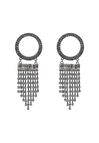 Red's Revenge silver Rhinestone O-Ring Tassel Statement Earrings 02E28AC904627CGS_1