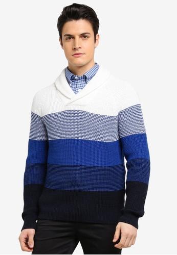 Brooks Brothers 藍色 翻領條紋針織毛衣 21462AA3E23CA3GS_1