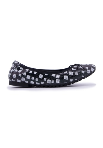 Flatss & Heelss by Rad Russel black and white Multi Square Print Flats - Black 9E646SH6DD9833GS_1