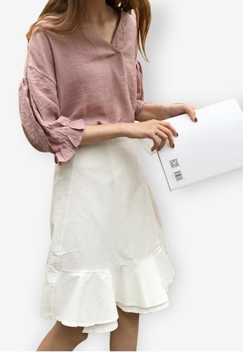 Sunnydaysweety white Wrapped Mini Skirt 538B8AA3B8343FGS_1