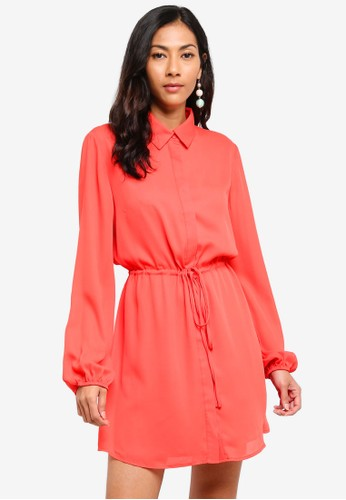 Glamorous orange Tie Waist Shirt Mini Dress BF92FAAEC785EEGS_1