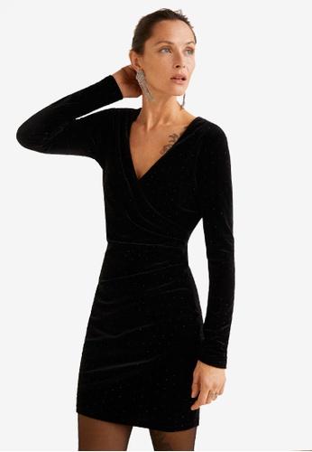 Mango black Beaded Velvet Dress E0D4CAA1561FB8GS_1