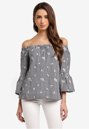 Dorothy Perkins black Gingham Embroidered Bardot Top D1E39AAE1D3772GS_1