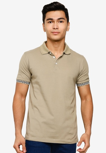 UniqTee 褐色 格紋POLO衫 A65CBAAD4BA9DFGS_1