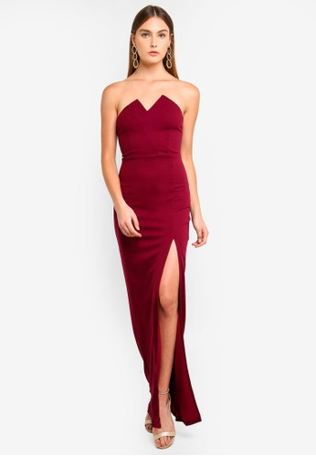 AX Paris red and purple Notch Front Maxi Dress FF892AA559C958GS_1