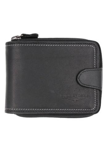midzone black Genuine Leather Zipper Wallet MI949AC0SCQJMY_1