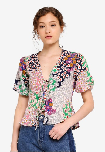 66973f549f6cd2 Buy TOPSHOP Mixed Floral Double Tie Top Online on ZALORA Singapore